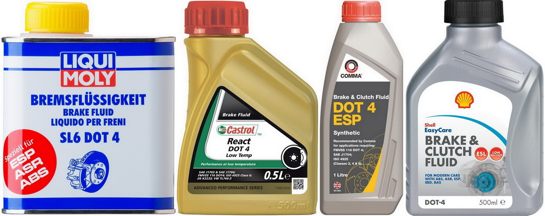 Examples of DOT 4 Class 6 brake fluids of famous brands of fuels and lubricants